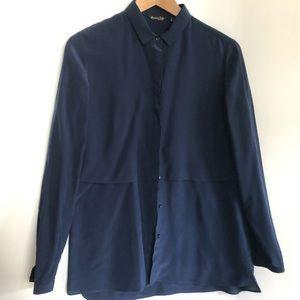 Massimo Dutti navy silk blouse 4